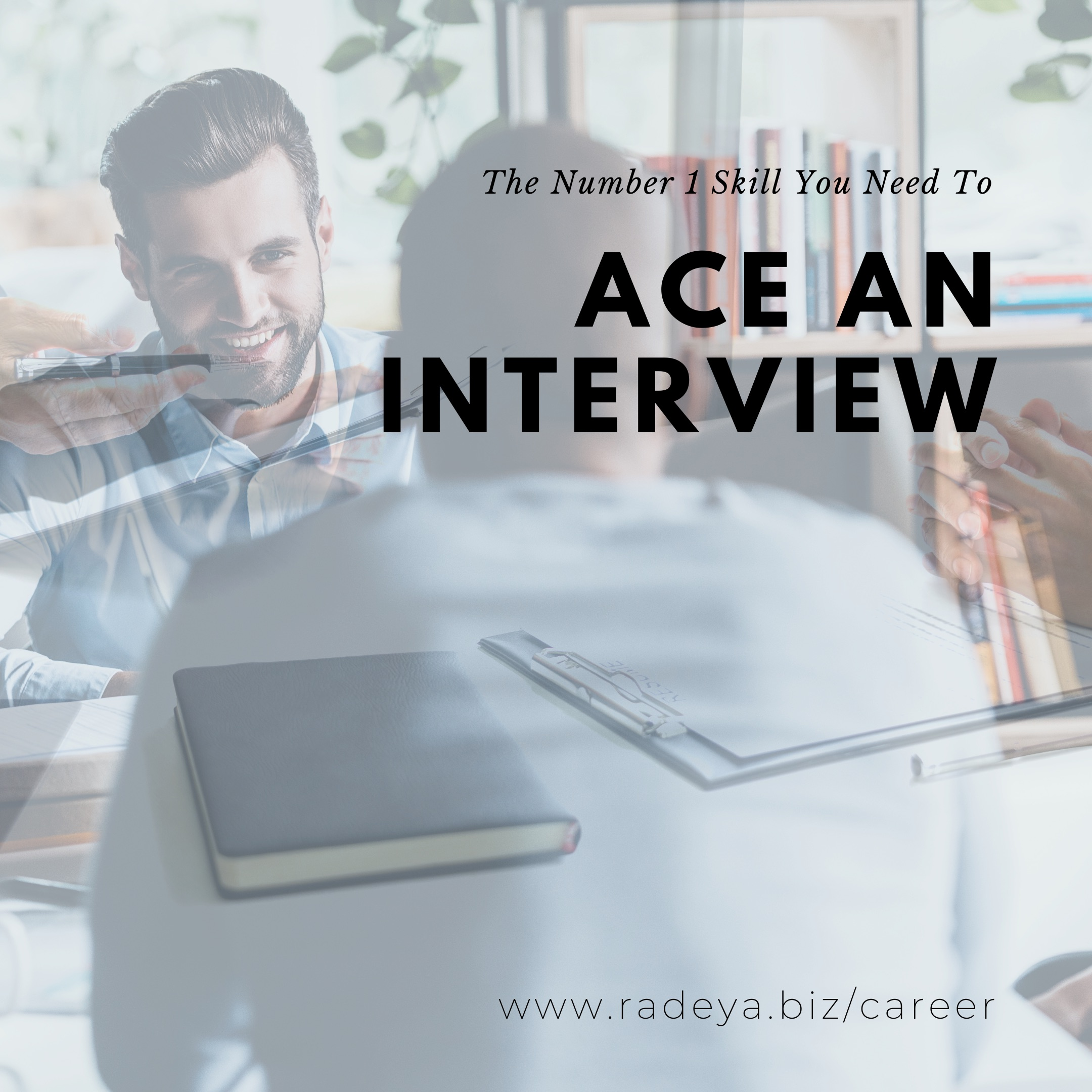 A job seeker having a job interview with background images of documents, pen, and thoughts
