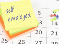Calendar and sticky note with self employed written on it
