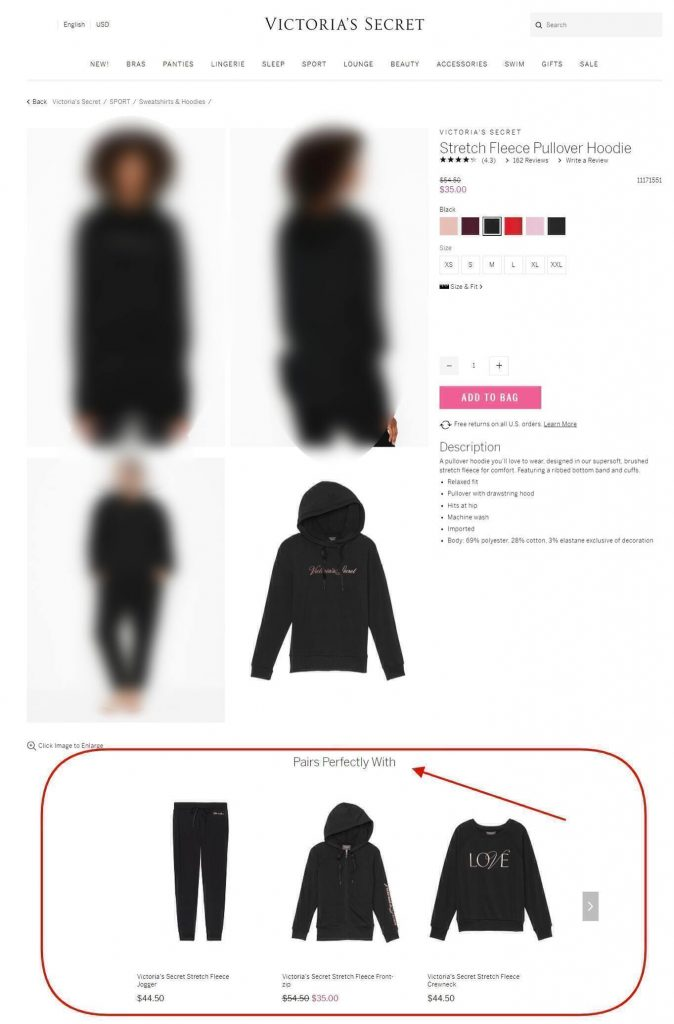 page from official victoria's secrets website with cross selling upselling example