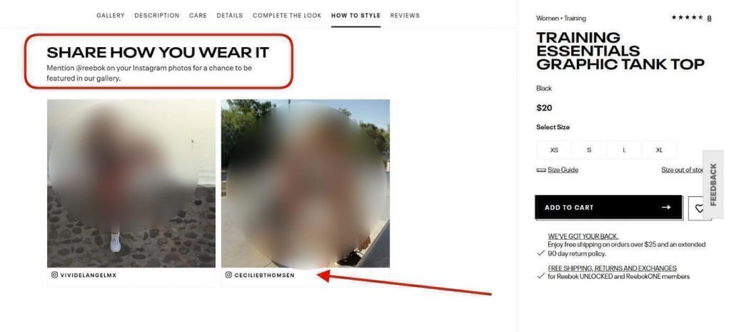 page from official reebok website with example of social proof of customer shared images